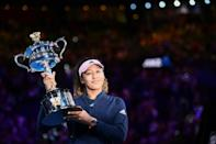 Naomi Osaka celebrates after beating Petra Kvitova to lift her first Australian Open in 2019