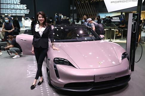 A Porsche car on display at the Beijing International Automotive Exhibition opens in Beijing on Saturday, September 26, 2020. Photo: Simon Song