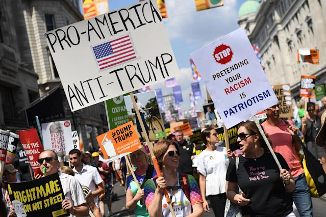 <p>Protesters join a Women's march in central London to demonstrate against President Trump's visit to the UK, on July 13, 2018 in London, England. (Photo: Chris J Ratcliffe/Getty Images) </p>