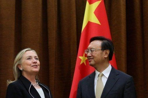 "US Secretary of State Hillary Clinton (L) meets with Chinese Foreign Minister Yang Jiechi in Beijing. ""For China and our neighbouring countries, the South China Sea is really a lifeline for exchanges, trade and commerce. There is no issue currently in this area, nor will there ever be issues in that area in the future,"" Yang said"