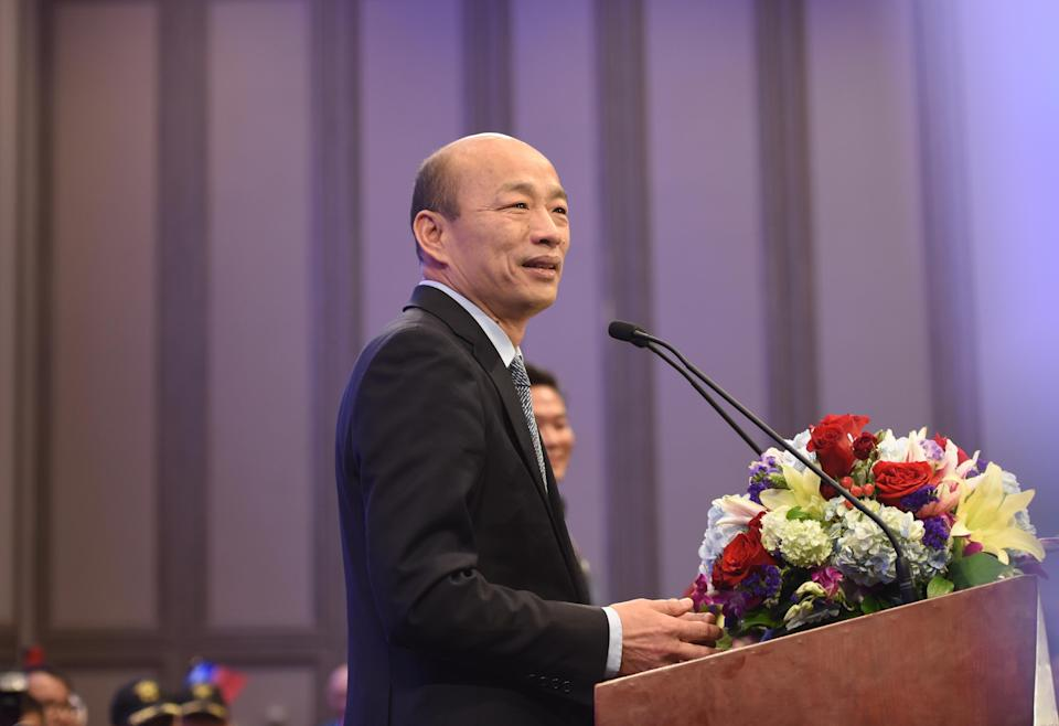 LOS ANGELES, UNITED STATES - APRIL 14: Kaohsiung Mayor Daniel Han Kuo-yu delivers a speech at a hotel during his visit to Los Angeles on April 14, 2019 in Los Angeles, the United States. (Photo by Zhang Shuo/China News Service/Visual China Group via Getty Images)