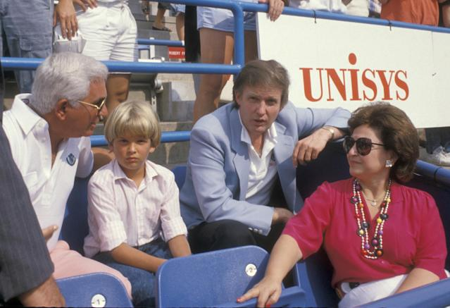 Donald Trump Jr. with his father at the U.S. Open in 1988. (Photo: Ron Galella, Ltd./WireImage)
