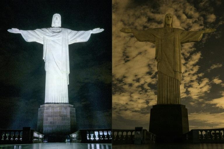 The statue of Christ the Redeemer in Rio de Janeiro shown before and after being plunged into darkness for Earth Hour