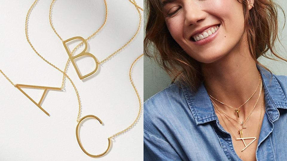 Best gifts for sisters 2021: Anthropologie monogram necklace