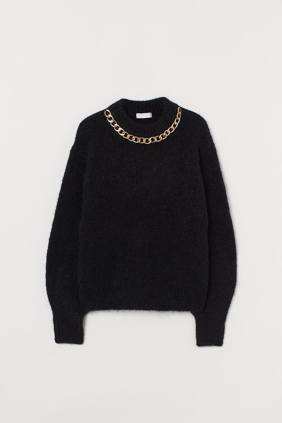 <p>Pair this <span>H&amp;M Chain-detail Sweater</span> ($17, originally $35) over a slip skirt for a chic date night look.</p>