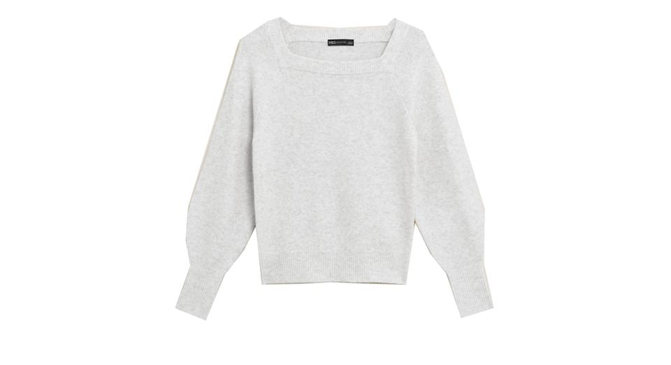 Textured Square Neck Jumper