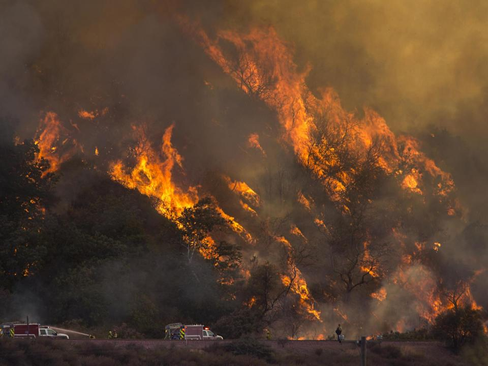 Flames spread up a hillside near firefighters at the Blue Cut Fire near Wrightwood, California: Getty Images