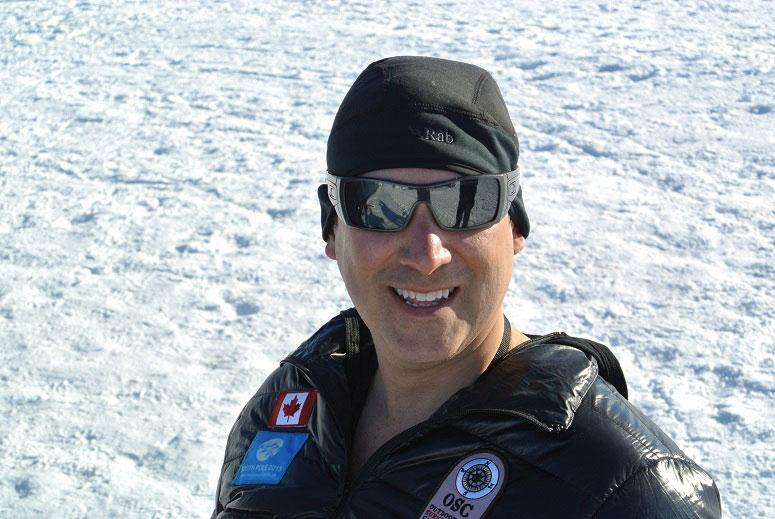 Diego basks in the sun and works on his tan in Antarctica.