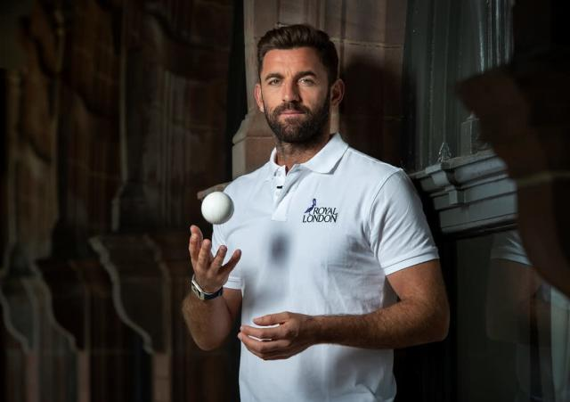 MANCHESTER, ENGLAND – JUNE 24: Mark Wood and Liam Plunkett take part in 360° filming as part of a Royal London PR day at Old Trafford on June 25, 2018 in Leeds, England. (Photo by Gary Prior/Visionhaus)