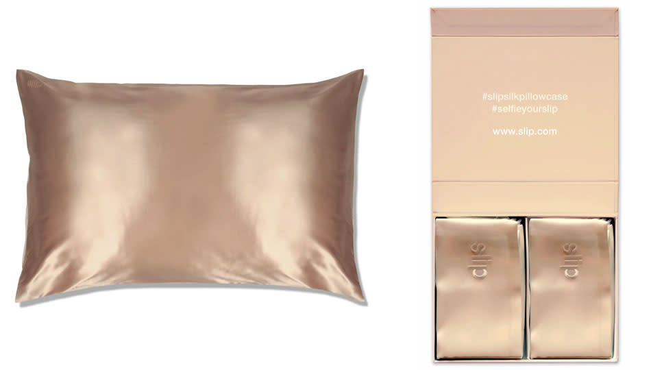 Using a Pure Silk Caramel Queen Pillowcase can keep wrinkles at bay while you sleep. (Photo: Nordstrom)