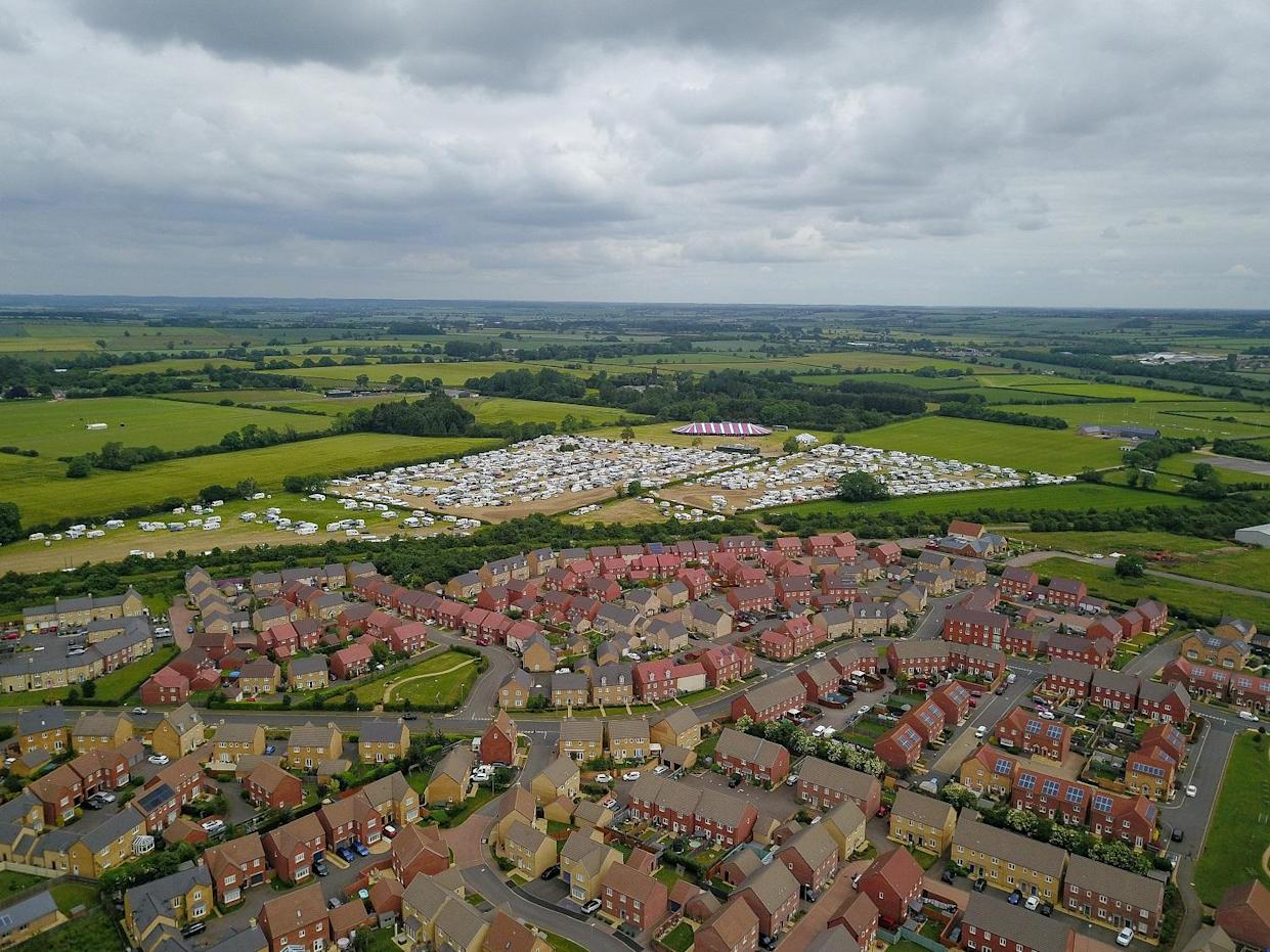 Aerial view of the huge religious festival near Oakham in Rutland where 1500 traveler's descended for a week (swns)