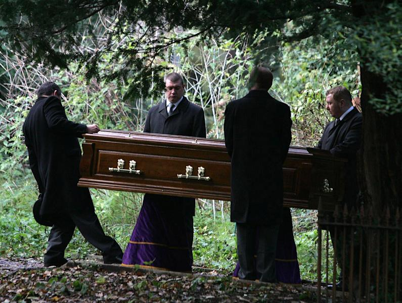 FILE - In this Dec. 7, 2006 file photo, the coffin of former Russian spy Alexander Litvinenko is carried during his funeral at Highgate Cemetery in north London. An inquest into the death of Litvinenko should take place early next year and will likely consider whether Russian authorities were involved, a senior British judge said Thursday, Sept. 20, 2012. (AP Photo/Cathal McNaughton, Pool-File)