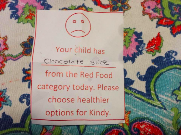 A woman has shared the note her friend received from her child's nursery [Photo: Facebook/MelindaTankardReist]