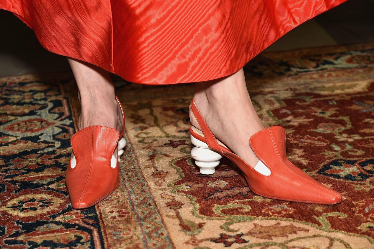 """<p>No longer are we bound by the rules of geometry as they apply to our shoe heels. In 2017 and as we move into 2018, it's all about the personality heel (<a rel=""""nofollow"""" href=""""https://www.manrepeller.com/2017/10/shoes-fall-2017.html"""">as coined by Man Repeller</a>), sculpted into couch heels and elephants and tilt-y modernist art.</p>"""