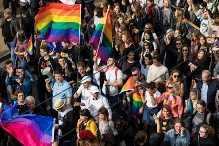 LGBT rights have become a hot button issue in Poland ahead of the October 13 general election in the heavily Catholic country (AFP Photo/Wojtek RADWANSKI)