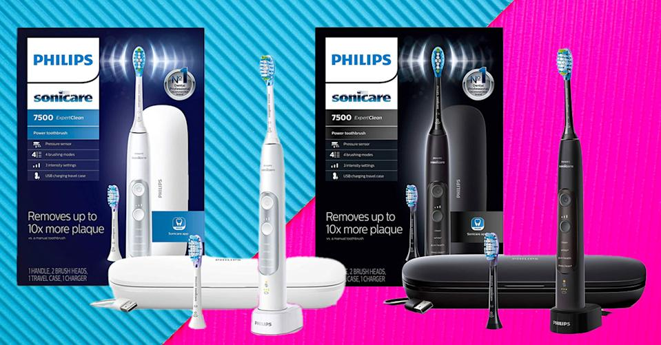 The Philips Sonicare ExpertClean 7500 electric toothbrush comes in white, black or pink. (Photo: Amazon)