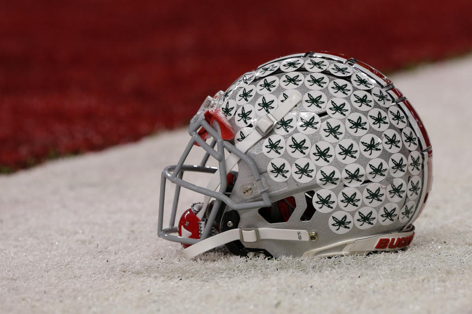 INDIANAPOLIS, IN - DECEMBER 01: A Ohio State Buckeye helmet sits on the turf prior to the Big Ten Conference Championship game between the Northwestern Wildcats and the Ohio State Buckeyes on December 01, 2018 at Lucas Oil Stadium in Indianapolis IN. (Photo by Jeffrey Brown/Icon Sportswire via Getty Images) (Photo by Jeffrey Brown/Icon Sportswire via Getty Images)