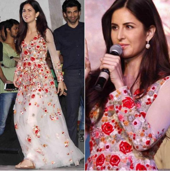 "<p>Once again Kat pushed the fashion envelope while promoting Fitoor in this mesmerizing color combination and fine embroidery that made her look more alluring. Giving a skip to her regular pumps or stilettoes the actress confidently opted for flats, this was certainly a refreshing change and we totally loved it.</p><p><a href=""https://www.instagram.com/p/BBFG-Lns_x3/?taken-by=afashionistasdiaries"">https://www.instagram.com/p/BBFG-Lns_x3/</a></p>"