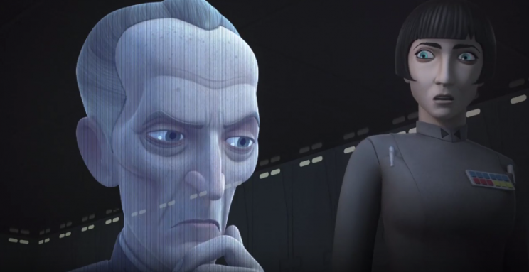Tarkin appears via hologram (Disney/Lucasfilm)