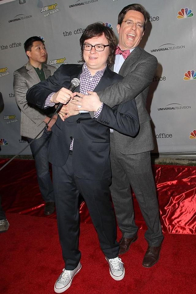 """Clark Duke and Ed Helms arrive at """"The Office"""" series finale wrap party at Unici Casa Gallery on March 16, 2013 in Culver City, California."""