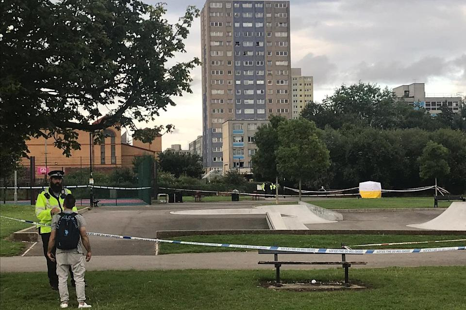 Police have sealed off a skate park and stage area next to Broadwater Farm estate (Katie Hastie)