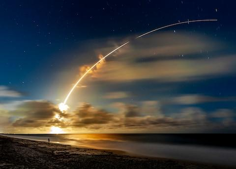 <span>Long exposure image of an Atlas V 551 heavy lift rocket launch from Cape Canaveral </span> <span>Credit: getty </span>
