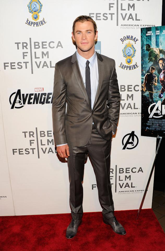 """NEW YORK, NY - APRIL 28:  Actor Chris Hemsworth attends the """"Marvel's The Avengers"""" Premiere during the 2012 Tribeca Film Festival at the Borough of Manhattan Community  College on April 28, 2012 in New York City.  (Photo by Jason Kempin/Getty Images for Tribeca Film Festival)"""