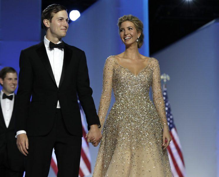 Ivanka Trump and her husband Jared Kushner attend the Freedom Ball, Friday, Jan. 20, 2017, in Washington. (AP Photo/Alex Brandon)