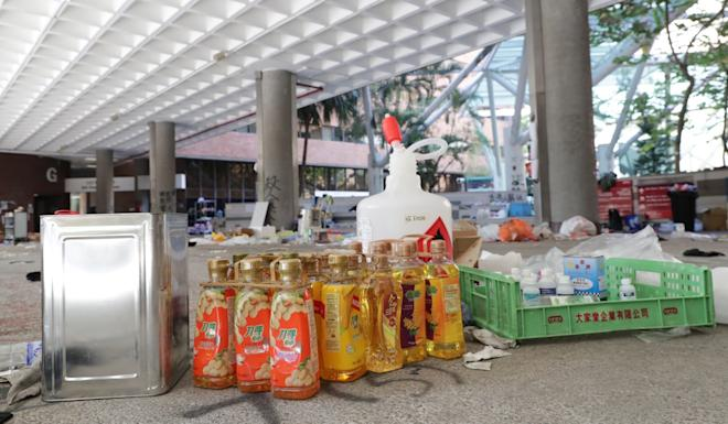 Cooking oil is among the objects littering the PolyU campus. Photo: Edmond So