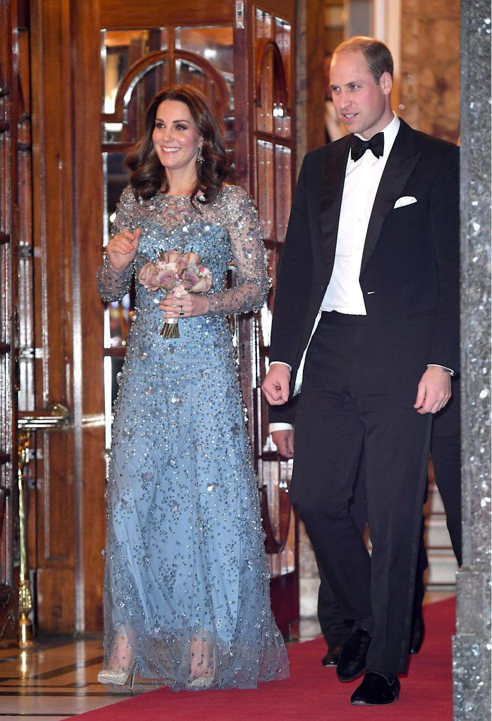 <p>The sheer sleeves and sweetheart neckline of this icy blue Jenny Packham gown makes this real-life royal look a lot like Elsa at an event at London's Palladium Theatre in November 2017.</p>