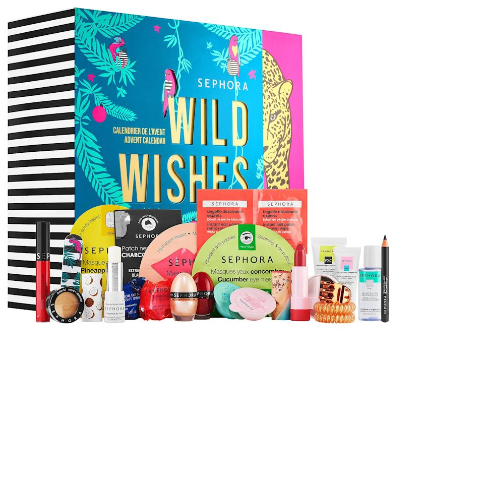"<h2>Sephora Beauty Advent Calendar</h2><br>The holidays have come early and Refiner29 readers are not mad about it. <a href=""https://refinery29.com/en-us/2020/09/10028702/sephora-collection-advent-calendar-holiday-2020"" rel=""nofollow noopener"" target=""_blank"" data-ylk=""slk:Sephora's highly anticipated beauty advent calendar"" class=""link rapid-noclick-resp"">Sephora's highly anticipated beauty advent calendar</a> has made a top-carted splash already — and it's only September. The festive 2020 box is filled with 15 full-size products plus nine adorable minis and priced at $45 a pop (which breaks down to around $2 per adorably packed beauty good). Sneak peek at what's inside: cucumber-infused eye gels, shea butter lip balms, nail polishes, and hair goodies, oh my. <br><br><em>Shop <strong><a href=""https://www.sephora.com/product/sephora-collection-wild-wishes-advent-calendar-P461519"" rel=""nofollow noopener"" target=""_blank"" data-ylk=""slk:Sephora"" class=""link rapid-noclick-resp"">Sephora</a></strong></em><br><br><strong>Sephora Collection</strong> Wild Wishes Advent Calendar, $, available at <a href=""https://go.skimresources.com/?id=30283X879131&url=https%3A%2F%2Ffave.co%2F3c6Um9O"" rel=""nofollow noopener"" target=""_blank"" data-ylk=""slk:Sephora"" class=""link rapid-noclick-resp"">Sephora</a>"