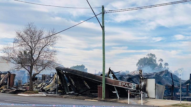Pictured is the Spar Supermarket after the fire. Source: Supplied