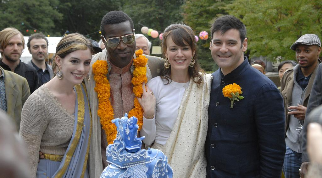 """<a href=""""http://movies.yahoo.com/movie/contributor/1804705919"""">Anne Hathaway</a>, <a href=""""http://movies.yahoo.com/movie/contributor/1804466291"""">Tunde Adebimpe</a>, <a href=""""http://movies.yahoo.com/movie/contributor/1809160790"""">Rosemarie DeWitt</a> and <a href=""""http://movies.yahoo.com/movie/contributor/1808873075"""">Mather Zickel</a> in Sony Pictures Classics' <a href=""""http://movies.yahoo.com/movie/1809961213/info"""">Rachel Getting Married</a> - 2008"""