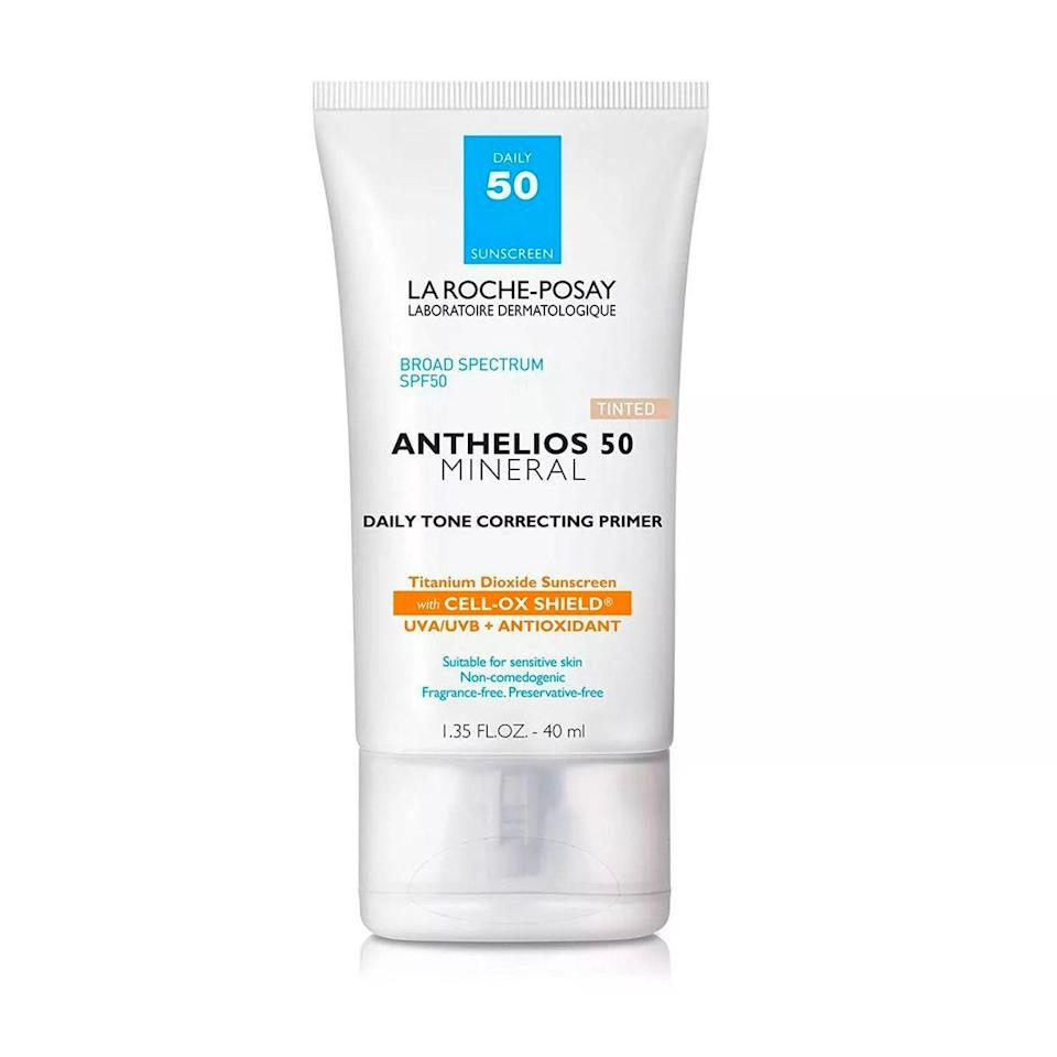 """Meet one of my all-time favorite drugstore finds. This pocket-size product is formulated with SPF 50, so I feel comfortable applying it without extra sunscreen. The tint also provides medium coverage, which is nice during the winter months when my face looks like a pale zombie. The formula is packed with hydrating vitamin E—and it's gentle enough to not irritate my keratosis pilaris-prone skin. —<em>Talia Abbas, commerce writer</em> $40, La Roche-Posay. <a href=""""https://shop-links.co/1739243281338842267"""" rel=""""nofollow noopener"""" target=""""_blank"""" data-ylk=""""slk:Get it now!"""" class=""""link rapid-noclick-resp"""">Get it now!</a>"""