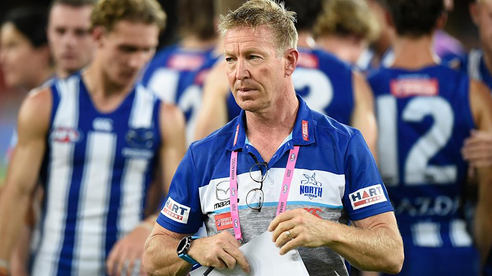 North Melbourne coach David Noble has echoed Richmond colleague Damien Hardwick's concerns over the VFL's rules trial. (Photo by Matt Roberts/AFL Photos/via Getty Images)