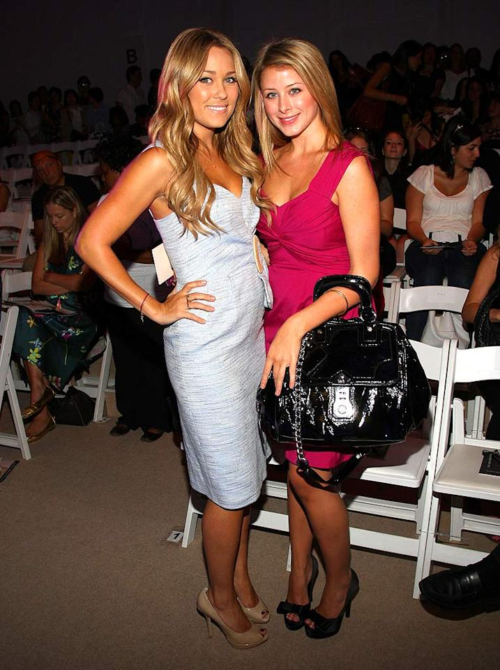 "Lauren Conrad donned a vintage-style Nanette Lepore dress for the designer's show, while BFF Lauren ""Lo"" Bosworth over-accessorized with a giant bag. Jason Kempin/<a href=""http://www.wireimage.com"" target=""new"">WireImage.com</a> - September 10, 2008"