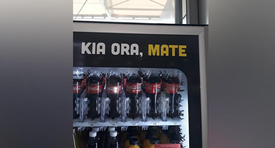 The vending machine effectively said 'welcome death' in Māori