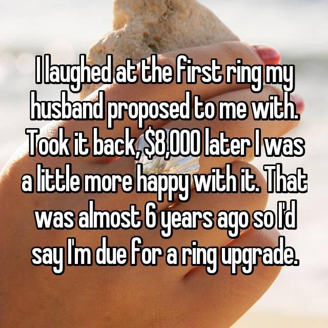 One person admitted to laughing at her ring. Photo: Whisper.com