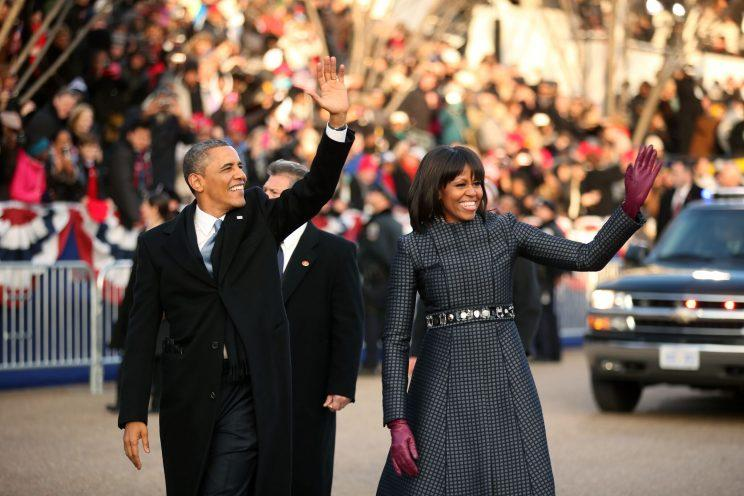 Barack and Michelle Obama at his second inauguration. Photo: Getty Images