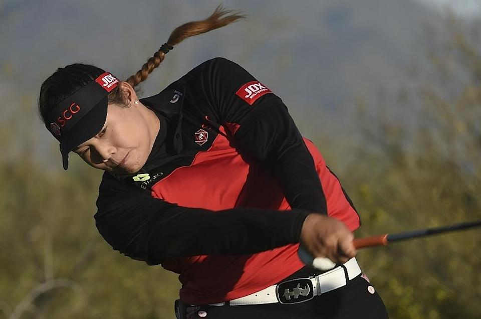 Ariya Jutanugarn of Thailand hits her drive on on the 18th hole during the the third round of the Bank Of Hope Founders Cup, at Wildfire Golf Club at the JW Marriott Desert Ridge Resort in Phoenix, Arizona, on March 18, 2017 (AFP Photo/Steve Dykes)