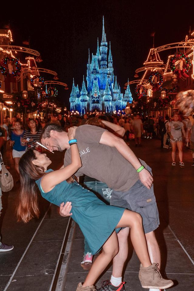 <p>The Switzers at Disney World Florida in front of the Magic Kingdom. (Caters News) </p>