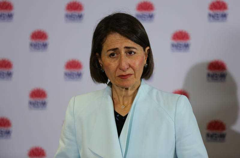 NSW Premier Gladys Berejiklian addresses the media during a press conference in Sydney.