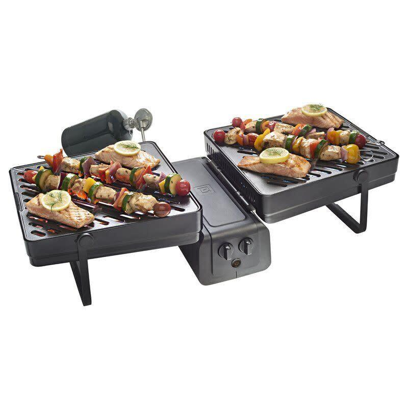 "With two separate surfaces, this grill is <i>really</i> two-in-one. Highlights of this grill include a removable grease tray that's dishwasher-safe and porcelain-enameled cast-iron grates. <a href=""https://yhoo.it/31v7YZj"" rel=""nofollow noopener"" target=""_blank"" data-ylk=""slk:Find it for $173 at Wayfair"" class=""link rapid-noclick-resp"">Find it for $173 at Wayfair</a>."