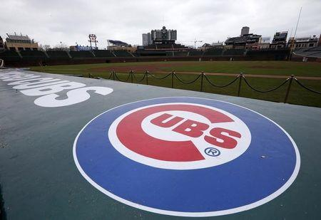 Chicago Cubs logo is seen at the Wrigley Field in Chicago, Illinois