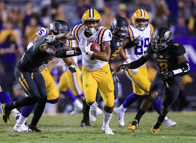 October 01, 2016: LSU Tigers running back Nick Brossette (4) during the game between the Missouri Tigers and the LSU Tigers at Tiger Stadium in Baton Rouge, LA. LSU Tigers defeat Missouri Tigers 42-7. (Photo by Stephen Lew/Icon Sportswire via Getty Images)