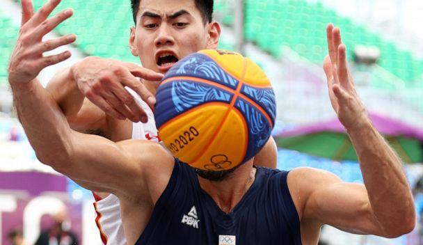 PHOTO: Aleksandar Ratkov of Serbia is seen in action during a a 3x3 men's basketball match against China on July, 24, 2021 in Tokyo. (Andrew Boyers/Reuters)