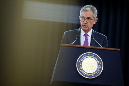 FILE PHOTO - U.S. Federal Reserve Chairman Jerome Powell holds a news conference following a two-day Federal Open Market Committee (FOMC) policy meeting in Washington, U.S., September 26, 2018. REUTERS/Al Drago