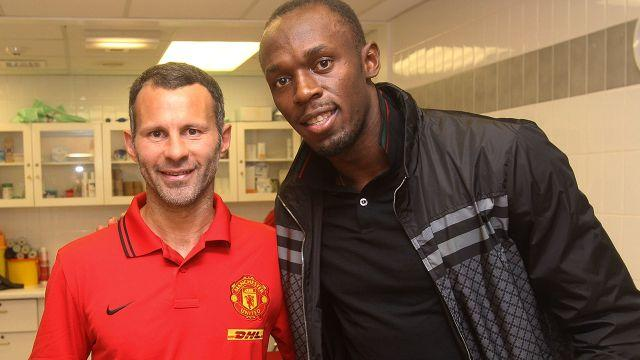 Bolt and United legend Ryan Giggs. Image: Getty