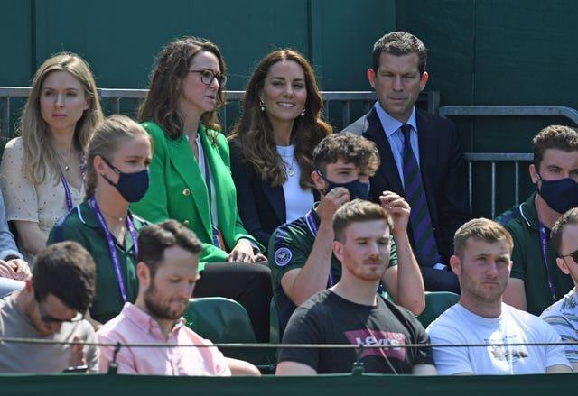 The Duchess of Cambridge sits with Sally Bolton OBE, AELTC chief executive and Tim Henman (Neil Hall/PA)