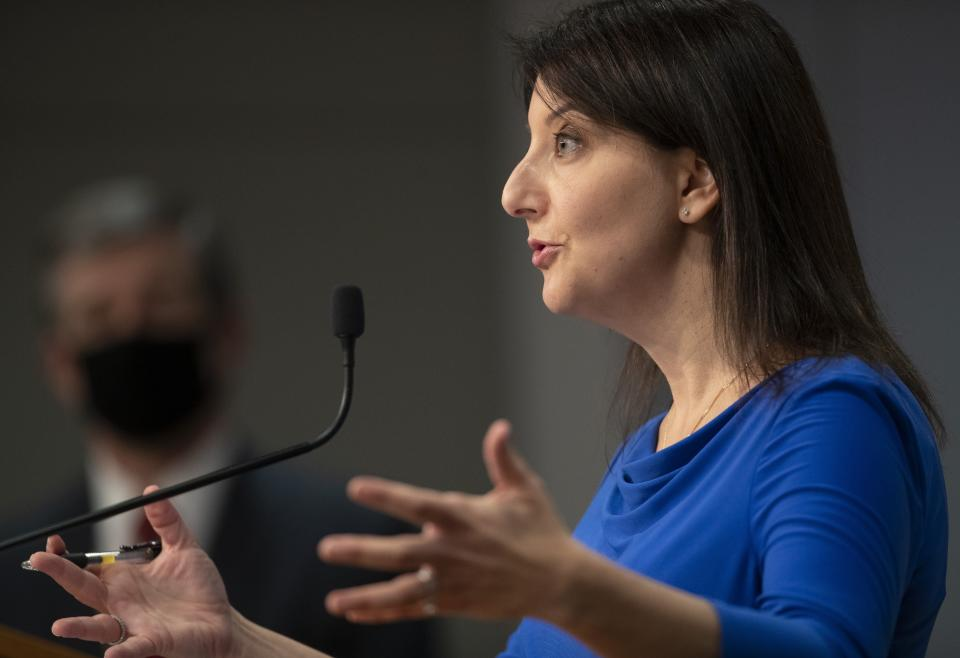 Dr. Mandy Cohen, Secretary of the North Carolina Department of Health and Human Services, discusses vaccine distribution during a press briefing about the coronavirus, Wednesday, Dec. 30, 2020, at the Emergency Operations Center in Raleigh, N.C. (Robert Willett/The News & Observer via AP)